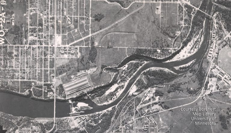 This aerial photo from 1940 shows the Twin Cities Assembly Plant. Above it (to the east) are the Highland Village Apartments, one of the first developments to be completed after the plant opened. The diagonal road is St. Paul Avenue. The rail spur to the plant is also visible. Courtesy Borchert Map Library, University of Minnesota