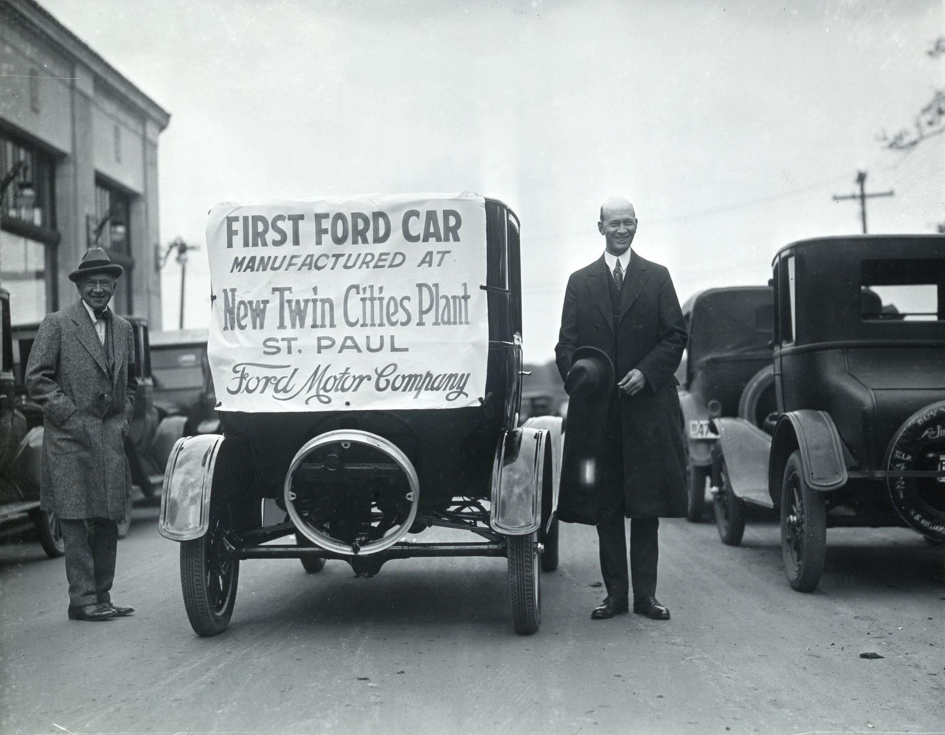 The first Model T rolled off the assembly line on May 4, 1925. The plant's opening generated tremendous excitement within the business community, whose leaders expected it to generate a big boost for the local economy. Courtesy Minnesota Historical Society