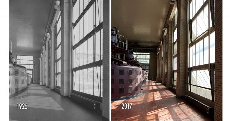 The interior of the hydroelectric plant has remained virtually unchanged since its construction, as seen in these photographs from 1925 and 2017. The four original Westinghouse generating units are still in use today. Courtesy Brian McMahon (1925) and Peter Myers (2017)