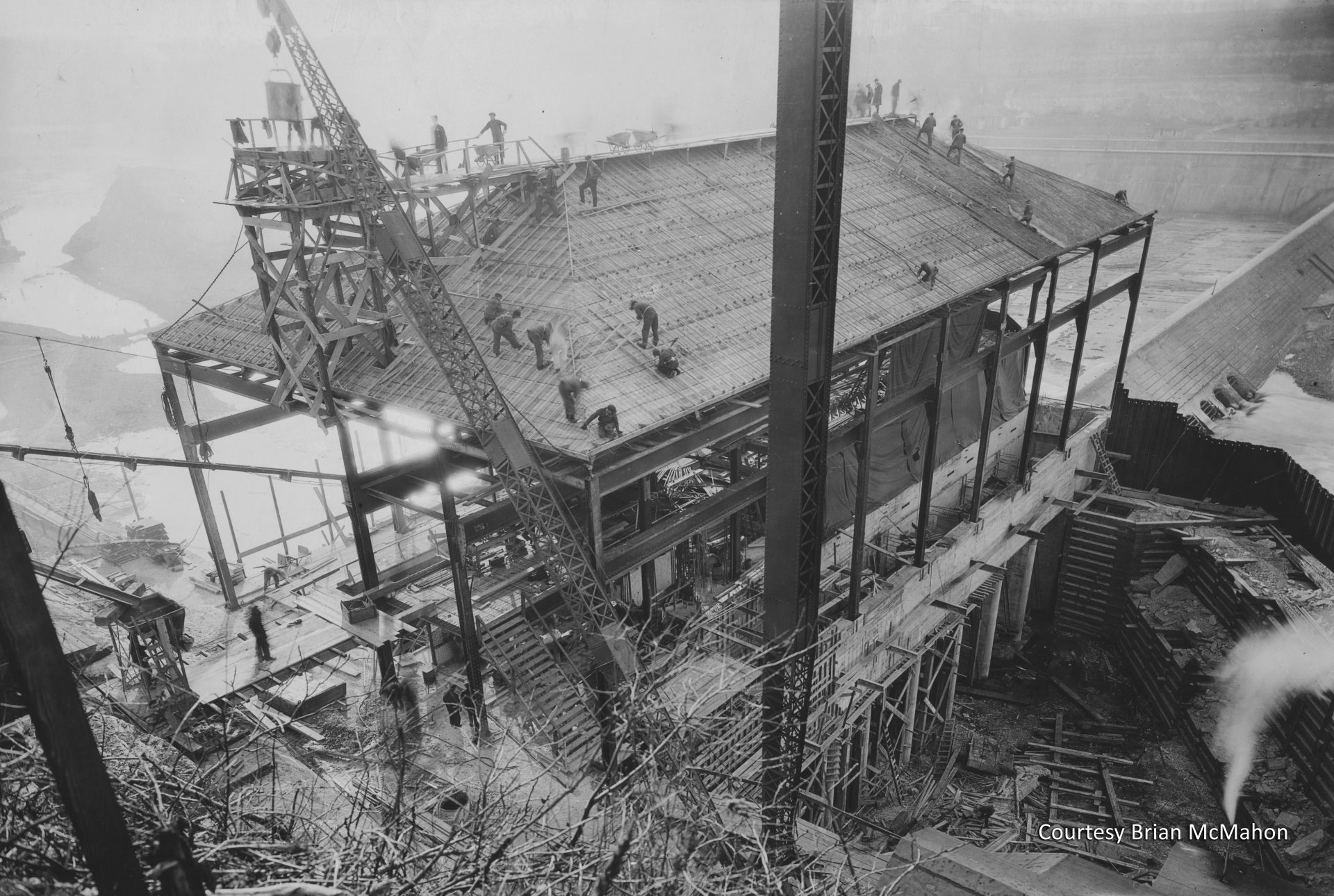 Construction of the hydroelectric plant was well underway in this 1923 photo. The plant began generating electricity in 1924. Courtesy Brian McMahon