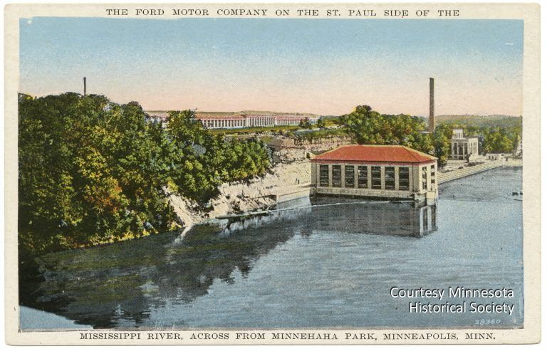 This postcard from the mid-1920s shows how the assembly plant and hydroelectric plant were integrated into the scenic setting on the banks of the Mississippi River. Courtesy Minnesota Historical Society