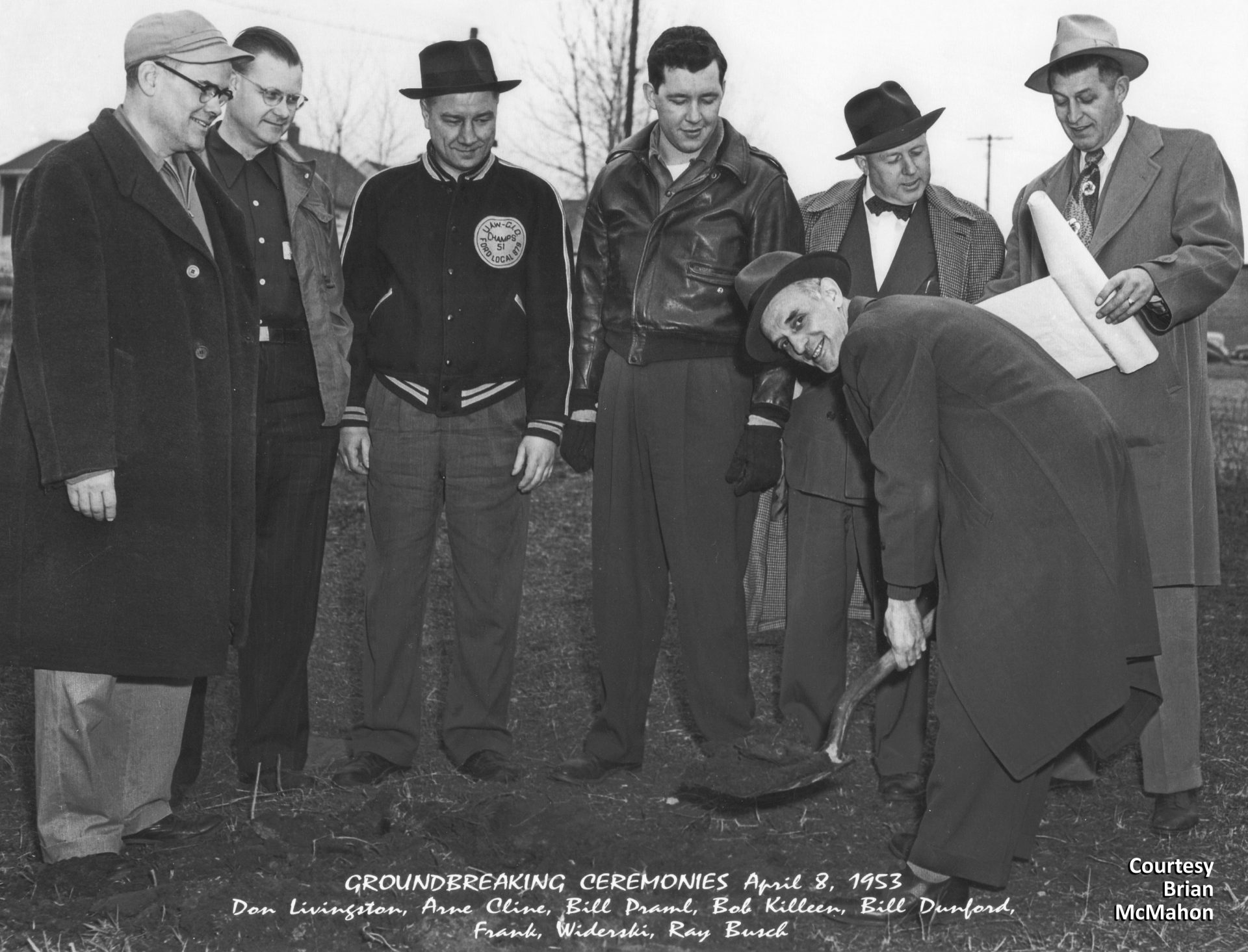 Leaders of the United Auto Workers Local 879 broke ground on the new UAW Union Hall on Ford Parkway in 1953. The building was later renamed in honor of Ray Busch, one of the early presidents of UAW Local 879. The site is currently occupied by Erik's Bike Shop. Courtesy Brian McMahon