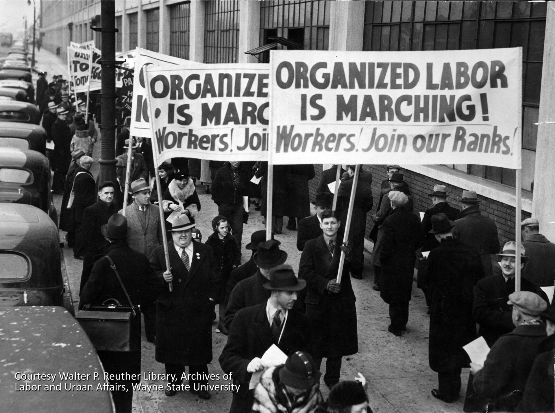 Autoworkers in Detroit and around the country mobilized in the 1930s to achieve collective bargaining rights. Chrysler and General Motors accepted the newly-formed United Autoworkers into their plants in 1937, but Henry Ford refused to acknowledge the UAW. It would be another four years before Ford, encouraged by his wife Clara, would accept the UAW. Courtesy Walter P. Reuther Library, Archives of Labor and Urban Affairs, Wayne State University