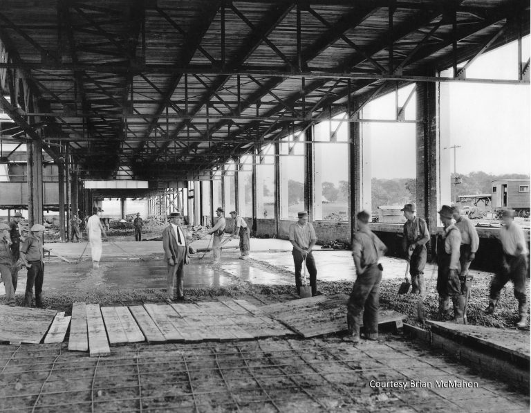 Construction of the Twin Cities Assembly Plant was fast-tracked through the winter of 1924-25. Pouring the concrete foundations in winter required workers to heat water for the concrete mix to 180 degrees and deploy portable heaters to facilitate the drying process. Courtesy Brian McMahon