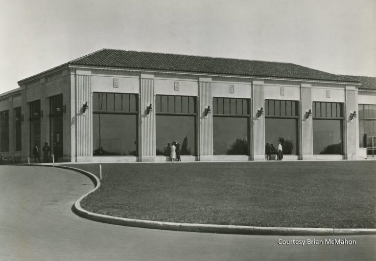 The northwest corner of the building housed a beautiful showroom where the latest models could be displayed. Albert Kahn's classical design featured carved stone details, ornate light fixtures and expansive windows. The elegance of the façade gave no clues as to what was happening inside the busy assembly plant. Courtesy Brian McMahon