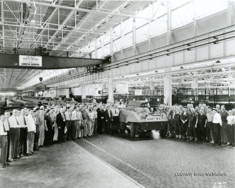"More than 6,000 M-8 armored tanks were assembled by workers at the Twin Cities Assembly Plant during World War II. The six-wheeled vehicle became known as ""The Greyhound"" for its speed and maneuverability. It was used primarily for reconnaissance missions in Europe. Courtesy Minnesota Historical Society"