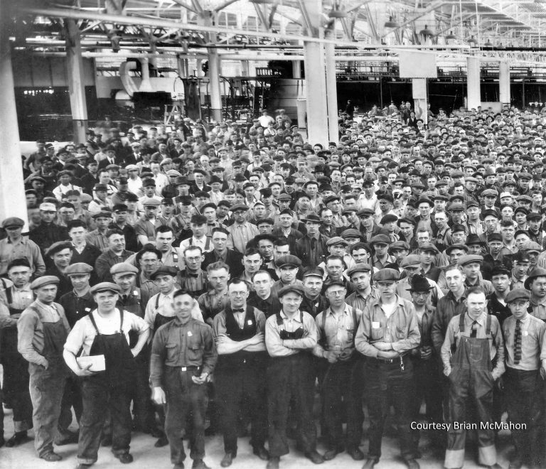 This photo from the late 1920s shows a group of employees at the Ford plant. Courtesy Brian McMahon